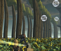 Sunflowers, Tall Trees and Bubbles (Tizzy Canucci) Tags: tree projector surreal secondlife sunflower radiohead virtualworld