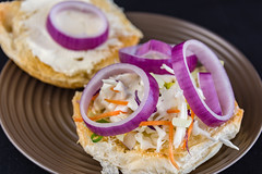 Onion and coleslaw sandwich (garydlum) Tags: canberra onion creamcheese coleslaw