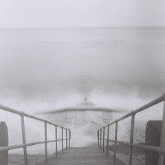 Descent to the Sea (Music.and.toast) Tags: sea storm tlr film beach water mat aberdeen 124g analogue yashica mat124g