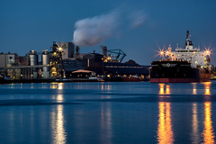 Mercurius Harbour, Amsterdam (reinaroundtheglobe) Tags: industry netherlands amsterdam port boat industrial harbour nederland bluehour