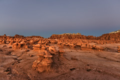 Goblin Valley and the Belt of Venus (Dave Toussaint (www.photographersnature.com)) Tags: travel november usa southwest nature strange photoshop canon landscape utah photo interestingness google interesting ut sandstone raw glow photographer image scenic picture clarity clear explore cc adobe getty sw geology epic bizarre beltofvenus adjust shale rockformation weathering 2015 siltstone entradasandstone hanksville denoise hoodoorocks topazlabs sanrafaeldesert photographersnaturecom davetoussaint 5dmarkiii creativecloud mushroomshapedrockpinnacles goblinvalleystateparksunset
