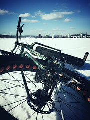 Spring Fatbiking 3 (pjen) Tags: city winter urban lake snow ice nature bicycle finland bicycling frozen spring frost tires biking mtb nordic jyväskylä 48inch fatbike