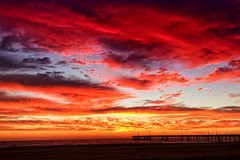 10/30/14. (thejcgerm) Tags: ocean california venice sunset red sky beach clouds la pier losangeles pacificocean socal beaches venicebeach venicefishingpier