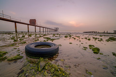 Abu Halifa Beach (SaFranQ8) Tags: sunset sky panorama sun beach sunrise canon 5d kuwait fintas abuhalifa