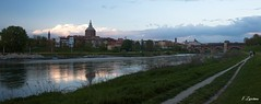 (Fede Z.) Tags: bridge river reflex ticino cathedral fiume ponte panoramica cupola duomo riflesso pavia pontecoperto