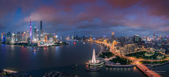 Shanghai (Lord Shen) Tags: china city sunset urban horizontal river landscape photography asia nightscape shanghai outdoor landmark pudong gettyimages huangpu lujiazui panoramicview
