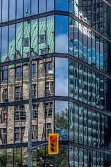 Red Light (Kvse) Tags: blue reflection building glass mirror bluesky redlight oldvsnew