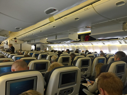 British Airways economy cabin on transatlantic Boeing 777 200.