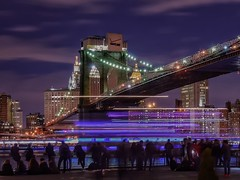 Tempus Fugit (karinavera) Tags: park city nyc longexposure travel bridge people newyork brooklyn night cityscape time dumbo tempusfugit nikond5300