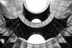 Batman HQ Building London by Simon & His Camera (Simon & His Camera) Tags: city urban blackandwhite bw reflection building london window glass monochrome lines architecture composition contrast office pattern lookingup iconic simonandhiscamera
