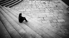 Sitting by the River (Stanislav Machacek) Tags: bw girl stairs river waiting flickr alone sitting stones pigeon ducks expose recent exposed lonelygirl flickrtoday