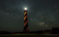 First Night-sky Shooting (John H Bowman) Tags: lighthouses northcarolina april outerbanks milkyway 2016 nationalhistoriclandmark darecounty capehatteraslight nrhp nclighthouses atlanticlighthouses lighthousetrek april2016 nightskyphotos obxworkshop canon16354l