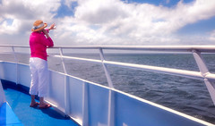 ships passing... (JimfromCanada) Tags: hello ocean pink sea summer woman cloud hat boat ship wave journey friendly passenger passing goodbye railing missyou polite solong twoshipspassing