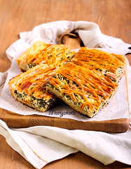 Spinach and cheese puff pastry pie (manyakotic) Tags: food green cake cheese pie healthy herbs puff homemade snack pastry brunch treat appetizer savory spinach lattice slices feta