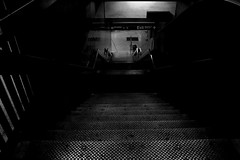Downwards (liamslab) Tags: new york city nyc light blackandwhite white black monochrome stairs underground photography line linea linear