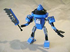 Zeta Mecha A11 (Unijob Lindo) Tags: blue black classic grey robot lego teeth claw figure sword minifig racers zeta mecha bot mech slopes joints homemaker maxifig mixel zeti xalax