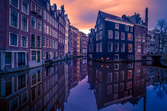 (angheloflores) Tags: longexposure travel houses sky urban holland colors amsterdam architecture clouds reflections canal cityscape floating explore