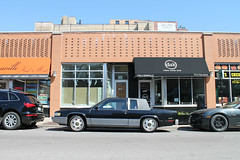 Profilin' (Flint Foto Factory) Tags: auto city blue roof sky urban food chicago brick car restaurant store illinois spring automobile skies granville winthrop side profile north broadway fast front cadillac 1993 american april 1991 1992 deville luxury coupe edgewater option dak cabriolet 2016 2door 1106 worldcars wgranvilleave