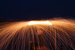 Overhead (nibrjosa) Tags: wool night fire long exposure steel spinning