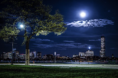 Memorial Drive, Cambridge Mass (TomBerrigan) Tags: cambridge moon boston skyline clouds river long exposure charles hancock mass