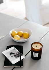 (Rebecca Watson Photography) Tags: stilllife white moleskine grey candle interior journal pale lemons athome nordic pattismith scentedcandle labruket