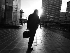 Street 1 (Michael Cavn) Tags: street morning blackandwhite sun man sweden stockholm