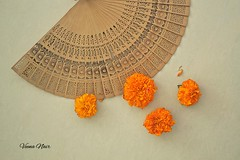 Keep calm and enjoy the summer. (Veena Nair Photography) Tags: summer stilllife india home season homesweethome indiansummer marigoldflowers sandalwoodfan stilllifeshot veenanairphotography keepcalmandenjoythesummer