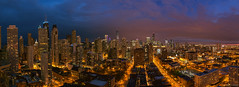 Chicago Pano (AdamOles) Tags: city blue sunset orange chicago clouds canon buildings river landscape gold lights coast spring downtown cityscape skyscrapers purple angle pano north wide chitown windy panoramic glowing secondcity 2016 5dm3