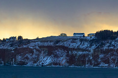Storm at sunset (vamp8888) Tags: houses winter sunset cliff snow storm water canon 7d