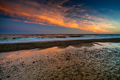 Orange Reflections (kevbphotography) Tags: uk sea orange beach water reflections coast suffolk sand colours tide east coastal sunet anglia covehithe