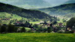Green town (Comme La Lavande) Tags: road house mountain france tree green fog comfortable rural landscape outdoors town spring village vert alsace april paysage avril champ