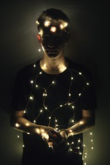 (TSprads) Tags: light portrait boyfriend silhouette pose dark lights wire model glow shine darkness ryan tie wrap string tangle shimmer ascboy75 tsprads