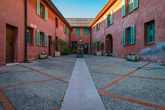 Square of the Citadel (Romain Lopez) Tags: old city blue red sky urban france architecture composition citadel symmetry villefranchesurmer