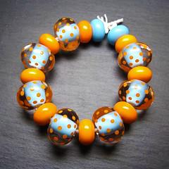 Zing (Beads By Laura) Tags: blue orange art glass beads handmade turquoise polkadots lampwork laurasparling beadsbylaura