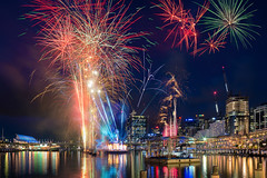 Darling Harbour Australia Day 2016 (Orange Orb Photography) Tags: city longexposure water night buildings lights colours waterfront fireworks sydney australia event nsw darlingharbour australiaday harbourside multicolour