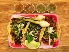 Tacos from Taqueria Ricardo (z3ro1) Tags: food tacos line chorizo asada pastor cilantro alpastor salsaverde