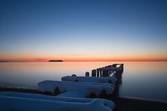 Stillness of Blue Hour (Ralph Cherubin) Tags: morning blue winter snow island pier long mt connecticut ct olympus panasonic hour sound milford february walnutbeach 2016 fav25 ep5 14mmf25