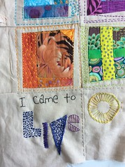 embroidered quote (ookiiyaya) Tags: colors words poem hand quilt bright quote free embroidered
