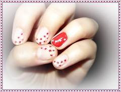 Happy Valentine's Day!!! :D (Valy ;)) Tags: red white photo san foto nails dots valentin nailart happyvalentinesday nudenails