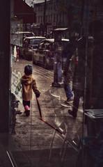 Anyone seen my dog? (Paul B0udreau) Tags: street toronto ontario canada reflection kid nikon child pov samsung niagara master layer ribbet redleash tonemapping nikkor1855mm queensteast d5100 samsungmaster paulboudreauphotography nikond5100 photoshopcc