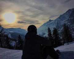 Adam at sunset (Weekend Wayfarers) Tags: travel sunset italy mountain snow mountains alps travelling snowboarding italian travels europe italia exploring sunsets travellings wanderlust adventure explore traveling courmayeur skitrip montblanc travelblog montebianco travelphotography morgex graianalps travelblogs travelblogger travelings travelbloggers graian travelblogging weekendwayfarers