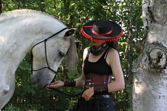 Farrah and  Diego (throughmyeyes..) Tags: red horse 3 black nature hat closeup grey star costume natural diego ucv spanish wyoming cody partnership stallion equine gentle instructor uppercanadavillage parelli naturalhorsemanship outift andalusion horsephotography farrahgreen horseloversweekend