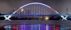 Lowry Avenue Bridge (Lake Vermilion1) Tags: bridge pink red white reflection minnesota night river dark lights nikon cityscape minneapolis panoramic valentine mississippiriver avenue lowry lowryavenuebridge nikond810