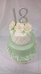 3 Tier 18th Birthday Cake (tasteoflovebakery) Tags: birthday flowers white 3 cake sparkles mint 18th bling tier classy