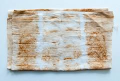 Rusted Linen (jonnydredge) Tags: rust handmade stripes fabric eco blueberries shibori markmaking spottedhyenas