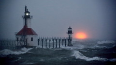 Stormy Sunset (04 02 2016) (PhotoDocGVSU) Tags: sunset lighthouse storm squall waves lakemichigan greatlakes stjospehmi sigma50500os canon5d3