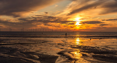 Cosby beach sunset (SiKenyonImages) Tags: sunset sky clouds liverpool reflections drama mersey windfarm anotherplace crosbybeach
