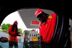 Friendly Guys - Filling Up With Gasoline! (Raphael de Kadt) Tags: happy friendly petrol jolly gasoline servicestation rokinonfisheye8mm fujifilmxt1