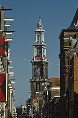 232 (kosmekosme) Tags: street city blue sky holland clock church netherlands amsterdam architecture time religion bluesky prinsengracht renaissance bloemstraat jordaan westerkerk publicclock hendrickdekeyser