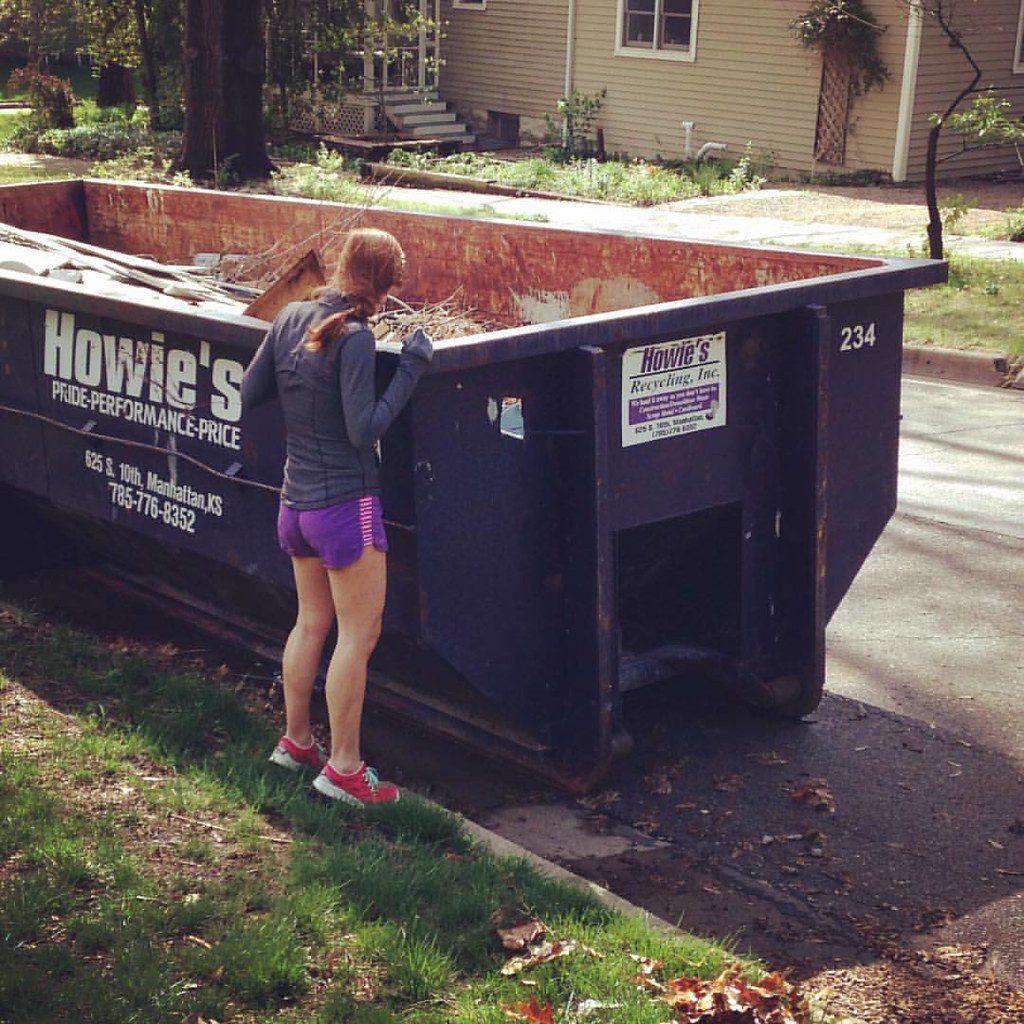 She watches one season of fixer upper and now she's dumpster diving for furniture.